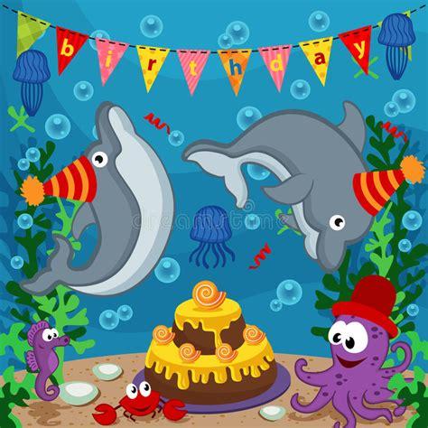 clipart compleanno animali marini di compleanno illustrazione vettoriale