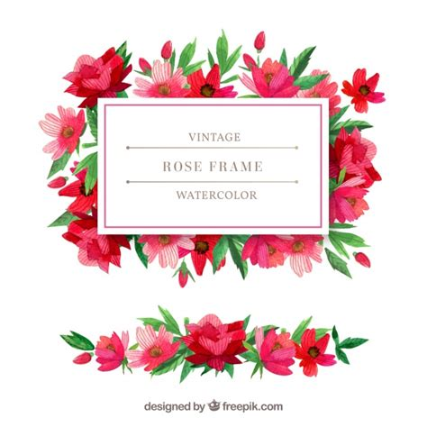 Vintage watercolor flowers frame Stock Images Page
