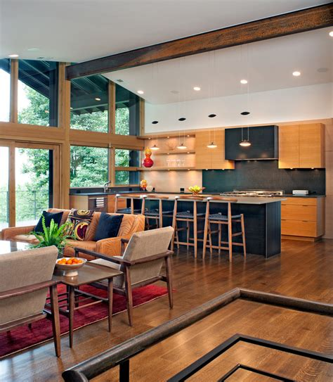 Rustic Open Floor Plans Kitchen Contemporary With Blue