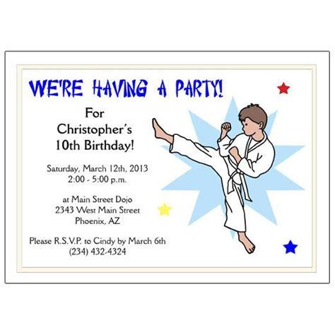 karate  martial arts boy birthday party invitation kick design mandys moon personalized gifts