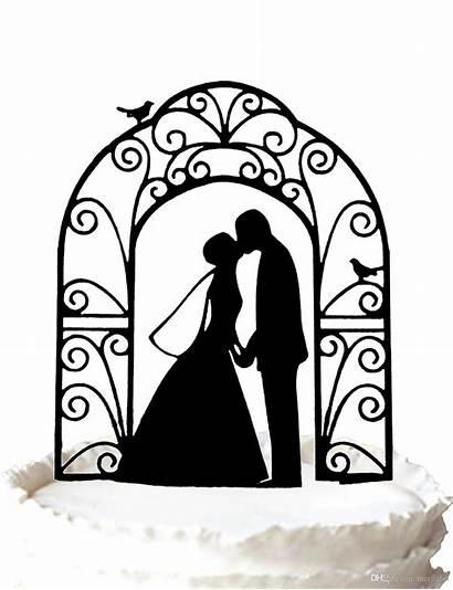 Groom Bride Cake Topper Silhouette Clip Kissing
