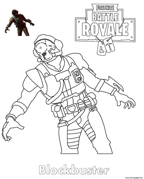 Coloring Skin by Blockbuster Fortnite Skin Coloring Pages Printable
