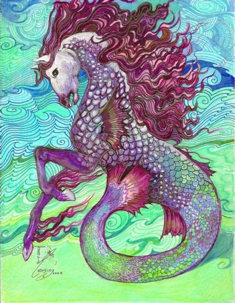 hippocampus mythical sea creature original artwork  rushing