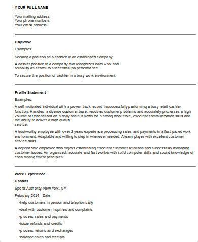 cashier resume sle 8 exles in word pdf