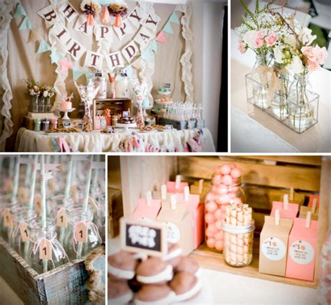 1st birthday ideas for baby girl party themes inspiration cookies and milk vintage shabby chic 1st birthday party