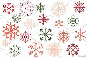 Red and green snowflakes clipart set ~ Illustrations ...