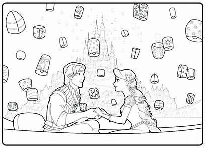 Coloring Rapunzel Scene Tangled Flynn Lanterns