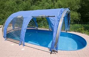 Abri haut AZURO pour piscine jusqu'à 10 mètres, repliable et amovible