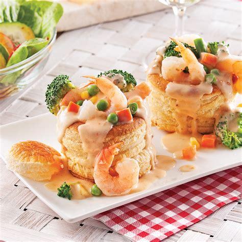 cuisine vol au vent aux chignons vol au vent aux crevettes et légumes pour recevoir