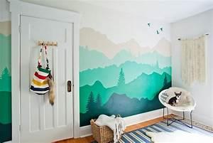 Wandgestaltung mit Farbe Wandgemälde von Bergen selber