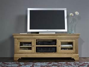 Meuble Tv En Hauteur : meuble tv 16 9 me en ch ne massif de style louis philippe ~ Teatrodelosmanantiales.com Idées de Décoration
