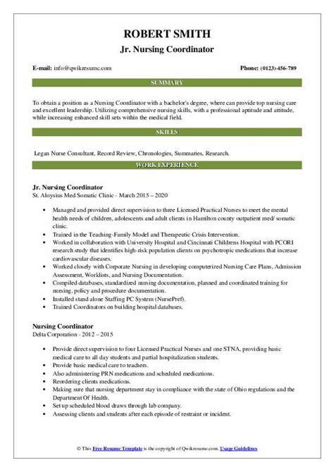 nursing coordinator resume samples qwikresume