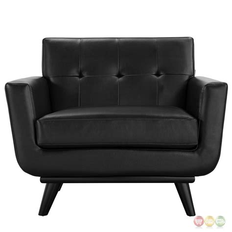 engage modern bonded leather armchair with button tufted