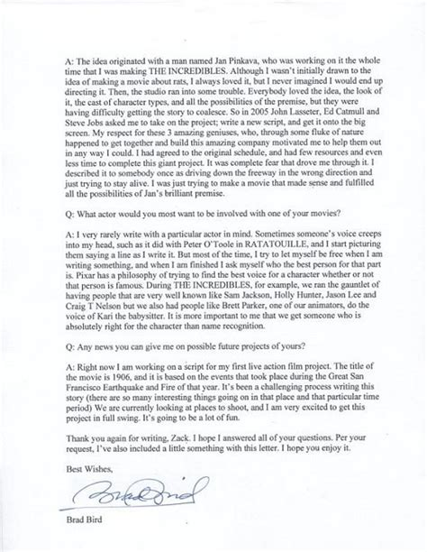 letters  note  wishes brad bird