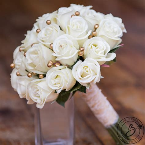ivory  gold real touch wedding bouquet  bridal