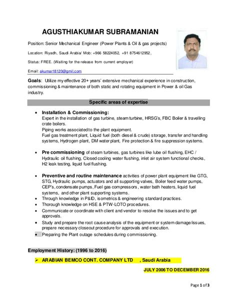resume of agusthiakumar senior mechanical engineer