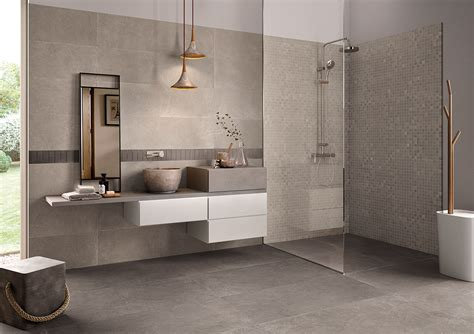 Carrelage Salle De Bain Aspect Pierre Grise Contemporaine