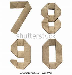 natural brown origami folded craft eco With cardboard letters and numbers