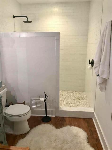 farmhouse basement remodel walk  shower  door marble