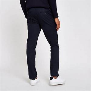 Pantalon Bleu Marine Homme : pantalon chino bleu marine coupe slim marine homme river ~ Melissatoandfro.com Idées de Décoration