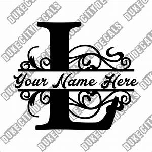 letter l floral initial monogram family name vinyl decal With family name letter pictures