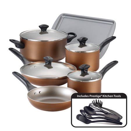 farberware dishwasher safe nonstick aluminum  piece cookware set copper walmartcom