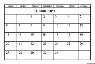 Monthly Printable Calendar August 2017
