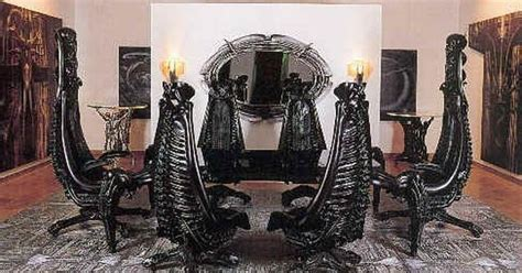hr giger dining room set chairs resemble  human