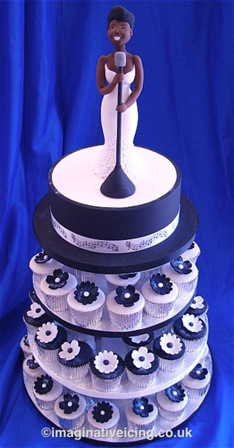Jazz Blues Birthday Cake With Black & White Cupcakes