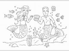 Ausmalbilder von Meerjungsfrauen Nixen Arielle