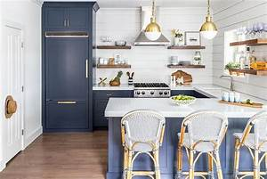 blue subway tiles contemporary kitchen anne chessin With kitchen cabinets lowes with navy and white wall art