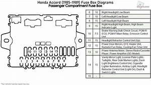 Honda Accord  1985-1989  Fuse Box Diagrams