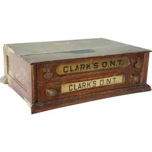 american clark s oak two drawer advertising spool cabinet