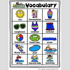 All About Summer Vocabulary Picture Word Cards For Kindergarten Tpt