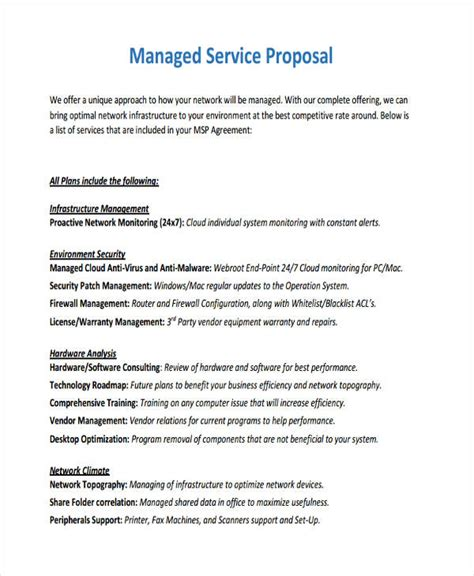 managed service proposal