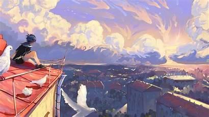 Painting Sky Anime Landscape Sunset Digital Artwork