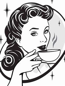 Lady Drinking Coffee Clipart (24+)