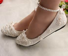 wedding flat shoes white lace wedding shoes pearls ankle trap bridal flats low high heels size 5 12 ebay