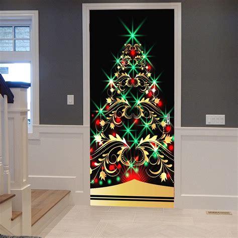 Door Decoration - 2019 sparkling tree pattern door decor stickers
