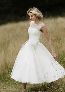 vintage 1950s style short wedding dress tea length sheer With white tea length wedding dress