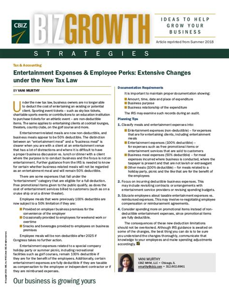 Entertainment Expenses & Employee Perks Extensive Changes