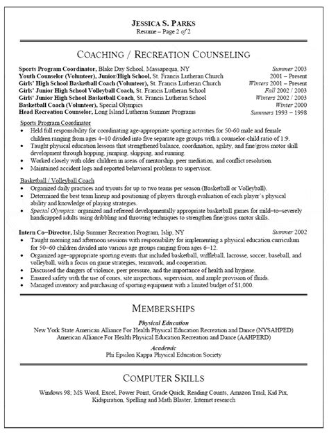 Education In A Resume Format by Physical Education Resume