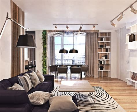 contemporary apartment  lots  open space