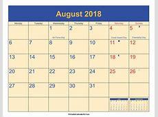 August 2018 Calendar Printable with Holidays PDF and JPG
