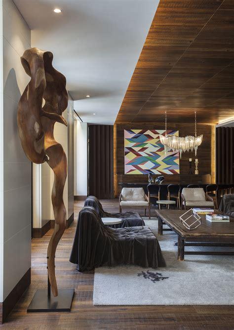 wood  interior design afro contemporary apartment