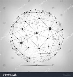 Vector Wireframe Connecting Earth Sphere Globe Stock
