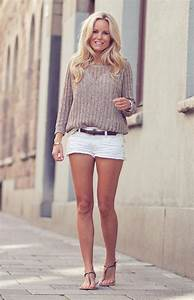White jean #shorts + Beige sweater #Outfit | Natural ...