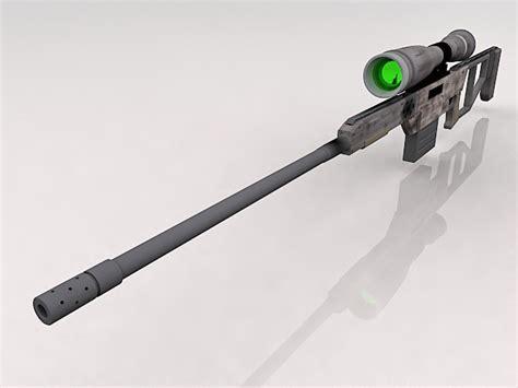 Futuristic sniper rifle 3d model 3ds Max files free