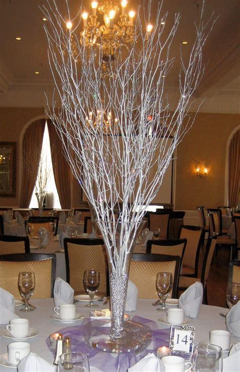 silver branch centerpiece floral design pinterest