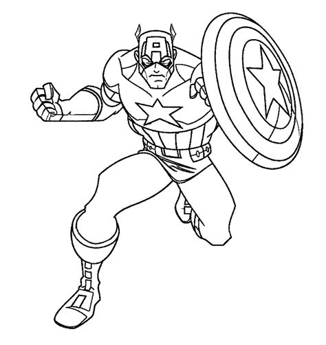 Captain America Coloriage Super Hãros Poster